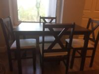 Dining table & 4chairs walnut
