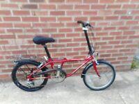 vintage adults folding red rudge transport 7 bike