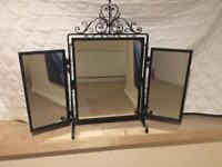 Bespoke handmade 3 piece wrought iron dressing mirror