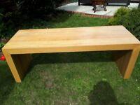 Large Solid Light Oak Coffee Table