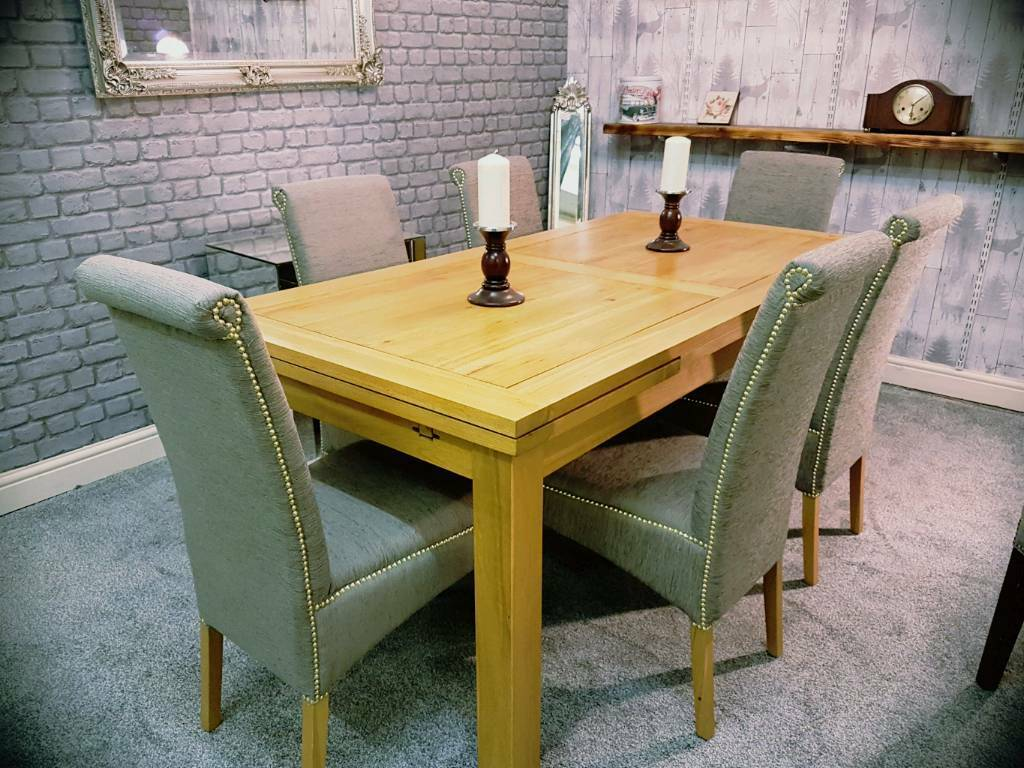 oak furniture land solid oak extendable dining table 6 chairs - Solid Oak Extending Dining Table And 6 Chairs