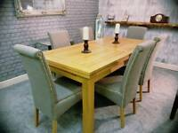 (Oak Furniture Land) Solid Oak Extendable Dining Table & 6 Chairs