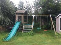 Wooden TP climbing frame with playframe, slide and swings