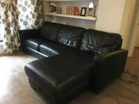 Genuine leather black corner sofa