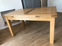 OFFERS INVITED Solid Oak Extending Dining Table with six Black Leather Chairs