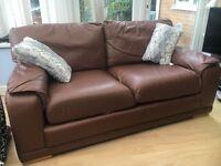 Cheatnut leather deep cushioned sofa