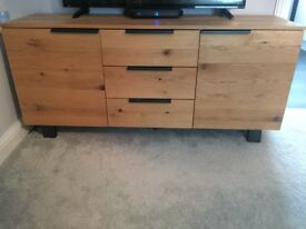 Solid oak sideboard and nest of tables