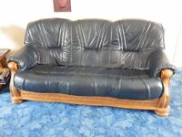 LEATHER AND OAK SOFAS, OAK COFFEE TABLES AND TABLE LAMPS