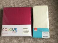 Brand new unopened double duvet set (fuchsia) & cream double fitted sheet