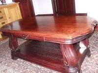 coffee table oak with a mahogany finnish side draw size 136cm long 72cm wide 54cm high stunning