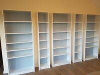 Ikea Billy bookcases x 5, nice condition, adjustable shelves, white