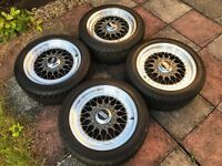 "BBS RS 001's-7""x15"" 3-piece split rim wheels & tyres"