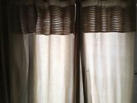 Large gold thermal curtains including curtain pole and tie backs