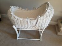 Immaculate White Rocking Moses Basket
