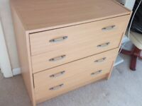 oblong mahonagy dining table + 8 chairs, matching sideboardand large dresser. also chest of drawers