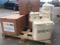 Cream vintage shabby chic bread bin sets
