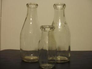 3 Vintage Milk Bottles