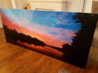 """""""6ft WIDE"""" XXL Extra Large """"SUNSET REFLECT ON LAKE"""" wall art on Canvas"""
