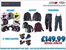 GREAT PACKAGE DEAL - MOTORCYCLE/SCOOTER HELMET -JACKET - TROUSERS AND GET FREE GLOVES £149.99