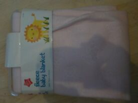BRAND NEW - Pink Baby Fleece Blanket - Collect PE27 5JU