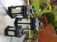3 PACK TRADITIONAL METAL LANTERNS LARGE, MEDIUM & SMALL SIZE GARDEN PATIO INDOOR BLACK