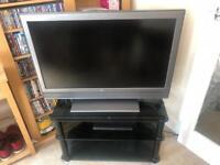 "SONY 37"" TV & black glass stand"