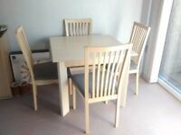 Contemporary Dining Room Table and Four Chairs
