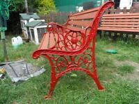 iron and wood bench red
