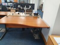 4 Office single wave desks/tables/computer desks in fir wood finish £69 each