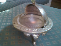 Silver Plated (?) Roll Top Globe shaped Butter or Caviar dish with glass ramekin