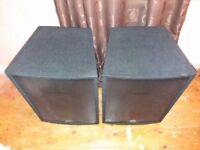 2x Peavey Pro-15 passive speakers with bags and leads