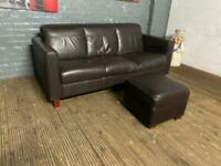 REAL LEATHER SOFA AND FOOTSTOOL IN GOOD CONDITION