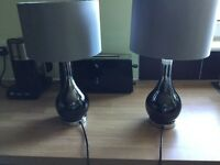 2 Silver Chrome bedside/table lamps £35