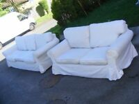 CAN DELIVER - 3-SEATER + 2-SEATER IKEA SOFAS WITH REMOVABLE AND WASHABLE COVERS