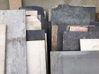 Marble, Granite, and synthetic stone worktop offcuts