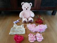 Build a bear pink teddy bear lots of clothes outfits vgc pet smoke free bundle