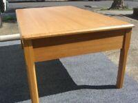 Large solid wood Teak veneer coffee table