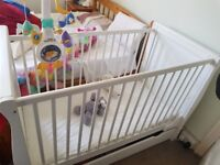 Adjustable baby cot with Drawer/Junior Bed + mattress **Must go quickly**