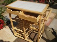 Kitchen Trolley / Island - on Castors .. Pine Wood with White Tiles - Wine Rack