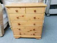 Pine Chest of drawers on castors