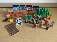 Wooden train set accessories- buildings, trees, people, animals, signs