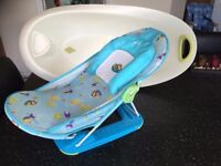 BABY BATH WITH PLUG AND RECLINING ADJUSTABLE BLUE SEAT MAMAS & PAPAS ANGEL FREE DELIVERY