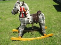 GREEN TARTAN ROCKING HORSE