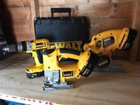 Dewalt 18v cordless power tools, Drill/Driver, Jig Saw, Circular Saw