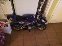 Kids 49cc mini moto super bike had wrong mix into it and won't start also petrol cap miasing