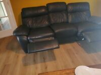 3 seater grey leather sofa, 2 end chairs recline, small tear on side