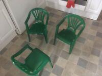 Three childrens plastic chairs plus table