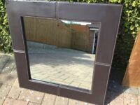 Large Leather Effect Mirror
