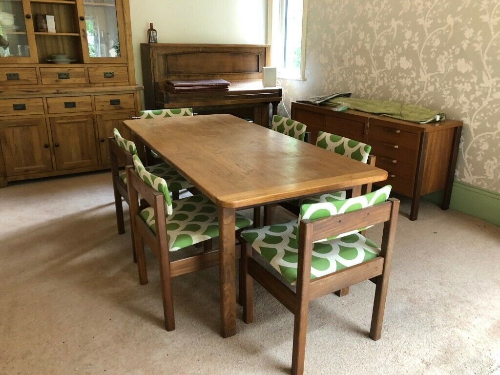 Beautiful Mid Century Solid Oak Dining Table And Six Chairs Gordon