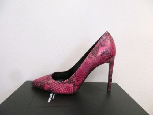 YSL Yves Saint Laurent Paris 105 Pressed Python Fushia Pumps Shoes 37 7